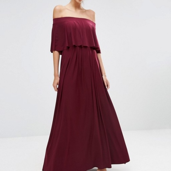 39287a5f44e ASOS Off Shoulder Frill Maxi Dress - Oxblood
